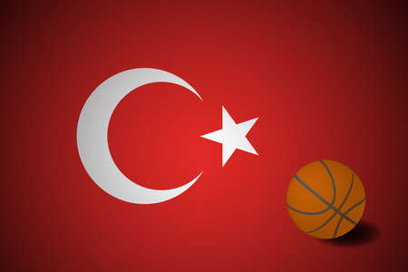 Turkey flag with realistic basketball ball, vector