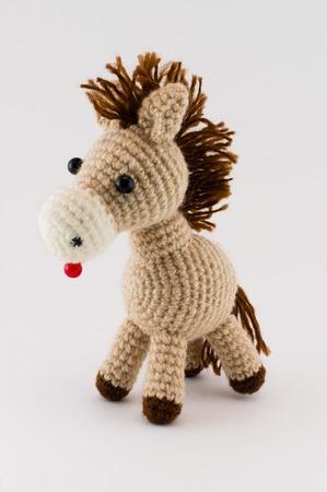 soft toy: soft toy horse isolated on white background Stock Photo