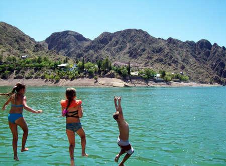 Los Reyunos Lake, Mendoza, Argentina 5 Jumping into the waters