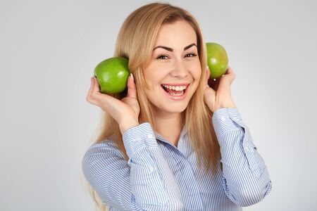 diferent: Healthy girl in diferent emotions, with green apple