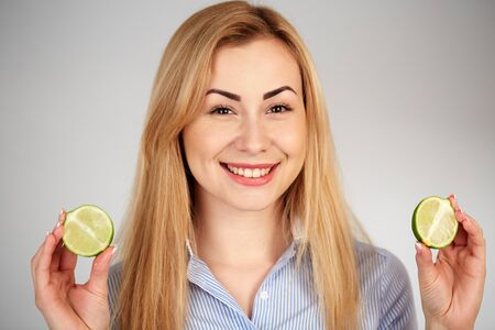 diferent: Healthy girl in diferent emotions, with lime