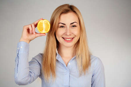 diferent: Healthy girl in diferent emotions, with orange
