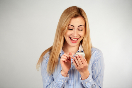 diferent: Healthy girl in diferent emotions, with phone Stock Photo