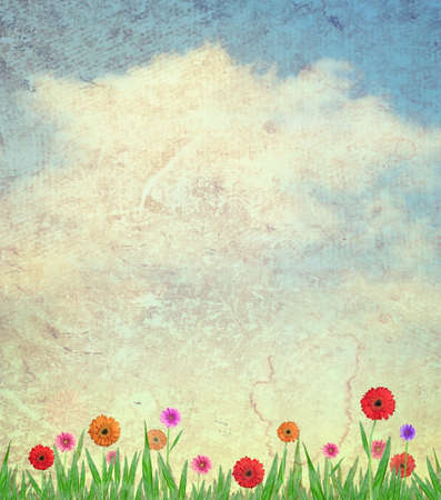 flowers and sky on paper texture background photo