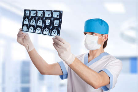 sinus: medical doctor looking at CT computer tomography scan image in hospital