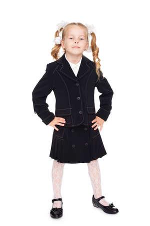 nice little girl in a school uniform photo