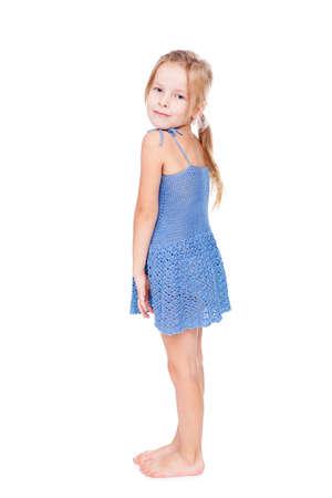 one little girl: shy pretty little girl in blue dress