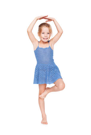 funny pretty little girl in blue dress i Stock Photo - 10310027