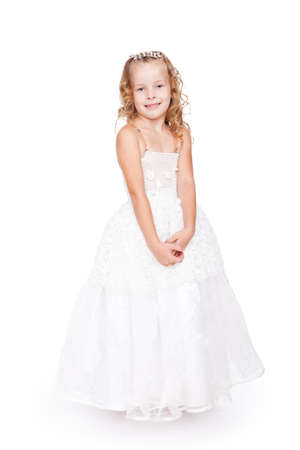 queen of angels: pretty little girl in beautiful white dress