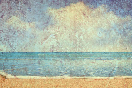 beach and sea on paper texture background