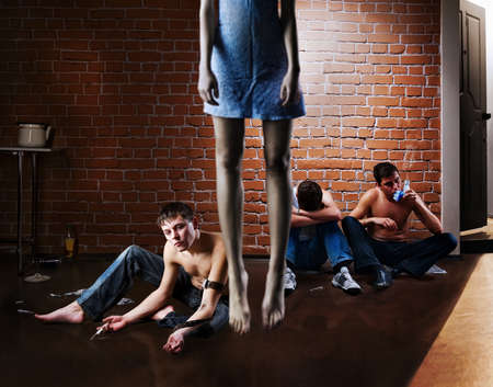 Drug addiction and suicide  Social problem photo