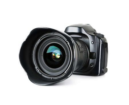 slr camera: Black digital camera isolated on white background