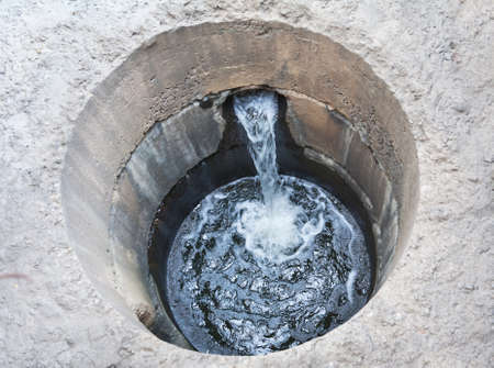 System of sewage with current water photo