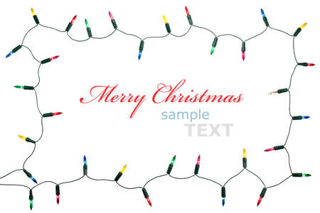 Christmas lights frame isolated on white background with copy space. Decorative garland  photo
