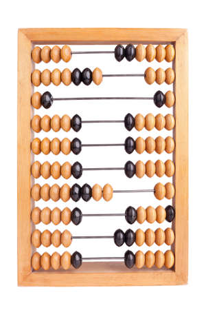 Accounting abacus for financial calculations isolated on white background photo