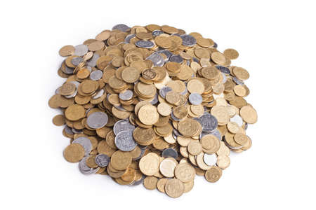 Heap of ukrainian coins isolated on white background photo