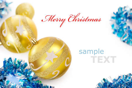 golden christmas decorations frame isolated on white background with copy space for text