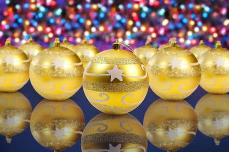 golden christmas decoration balls on christmas lights background  Stock Photo