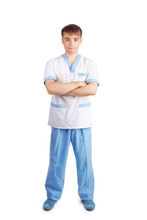 young medical doctor isolated on white background. Full length portrait Stock Photo - 10331953