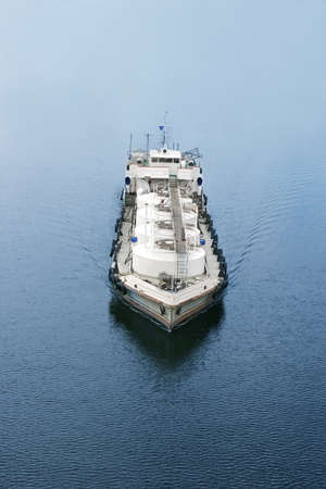 refuelling tanker for ship and boat, top view