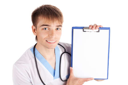 Medical doctor holding clipboard isolated on white background photo