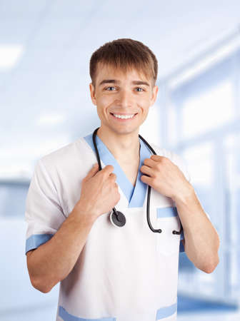 Medical doctor with stethoscope in hospital  photo