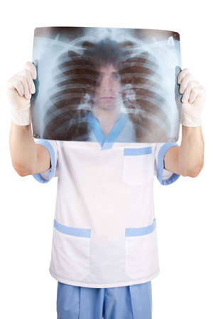 medical doctor looking through x-ray picture of lungs doctor isolated on white background  photo