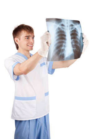 medical doctor looking at x-ray picture of lungs isolated on white background  photo