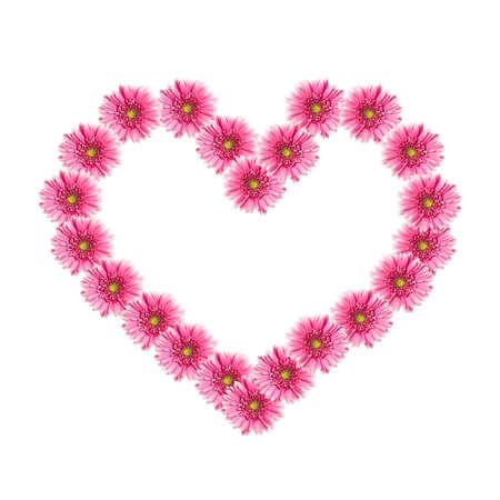 corazon rosa: Coraz�n de flores de gerbera Rosa aisladas sobre fondo blanco. Valentine Foto de archivo