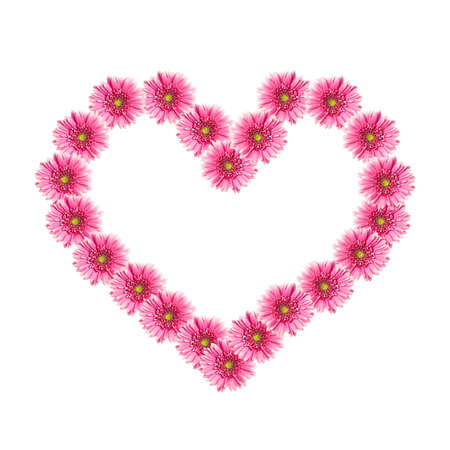 Heart from pink gerbera flowers isolated on white background. Valentine