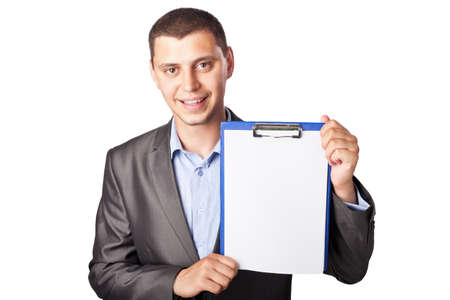 smiling young businessman holding clipboard isolated on white background photo