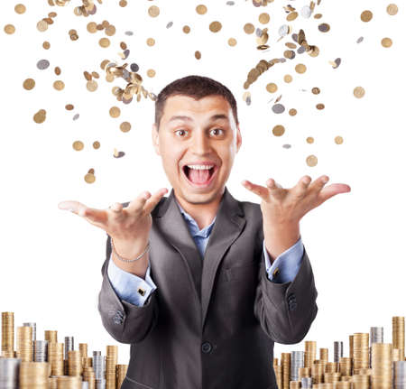 happy rich businessman enjoying success throws up many coins isolated on white background