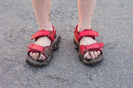 dirty feet: closeup of child
