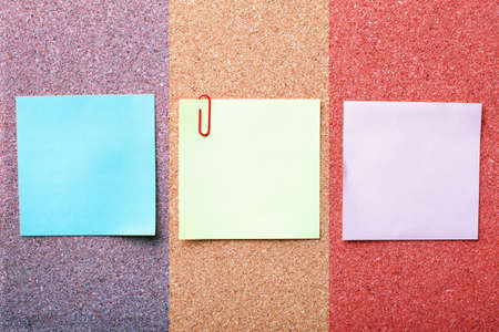 three note papers on cork board Stock Photo - 10332354