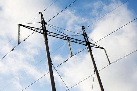 electricity pylon: Transmission power line
