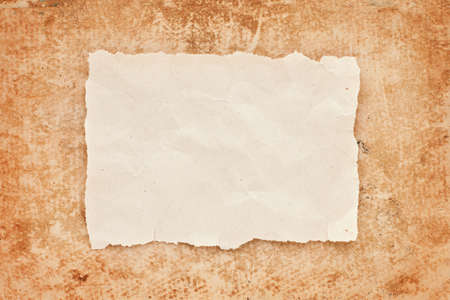 ripped piece of old paper on grunge paper background. vintage retro card Stock Photo - 10332345