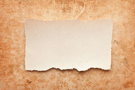 ripped piece of paper on grunge paper background. vintage retro card Stock Photo - 10332338