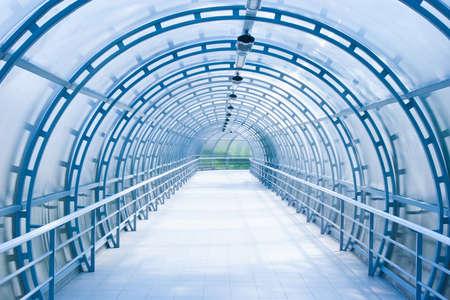 blue glass corridor in office centre Stock Photo
