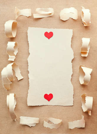Handmade card from ripped pieces of paper. Love letter.Valentine photo