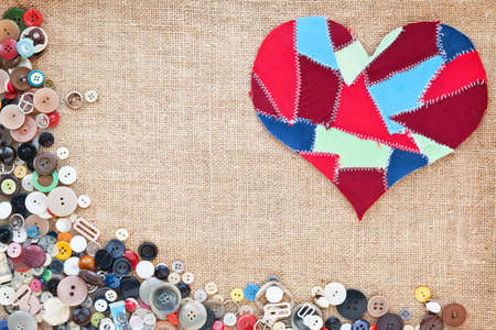 fabric scraps heart on texture background. Valentine Stock Photo - 10332357