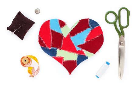skein: fabric scraps heart. Valentine Stock Photo
