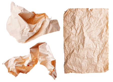 Three rumpled a sheet of paper isolated on white background  photo