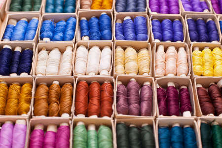 polyester: Colored threads for sewing machine in box