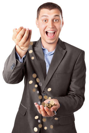 happy rich businessman pouring coins isolated on white background photo