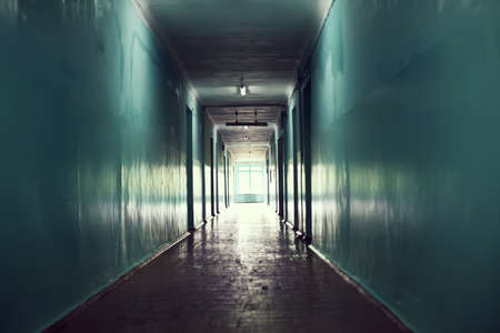 hospital corridor: dark corridor. Light at the end of the tunnel concept