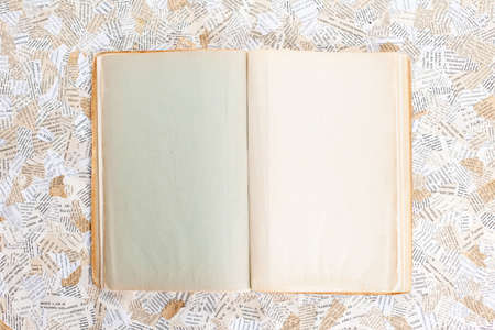 old opened book on paper background Stock Photo - 12018867