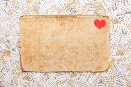 grunge paper card with heart. Valentine Stock Photo
