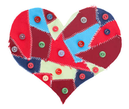 fabric scraps heart with sewing buttons isolated on white. Valentine Stock Photo - 12018864