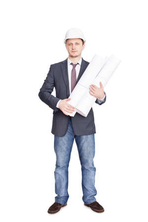 Engineer with blueprints isolated on white background Stock Photo - 12455144