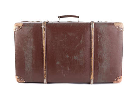 antique suitcase: Brown suitcase isolated on white background